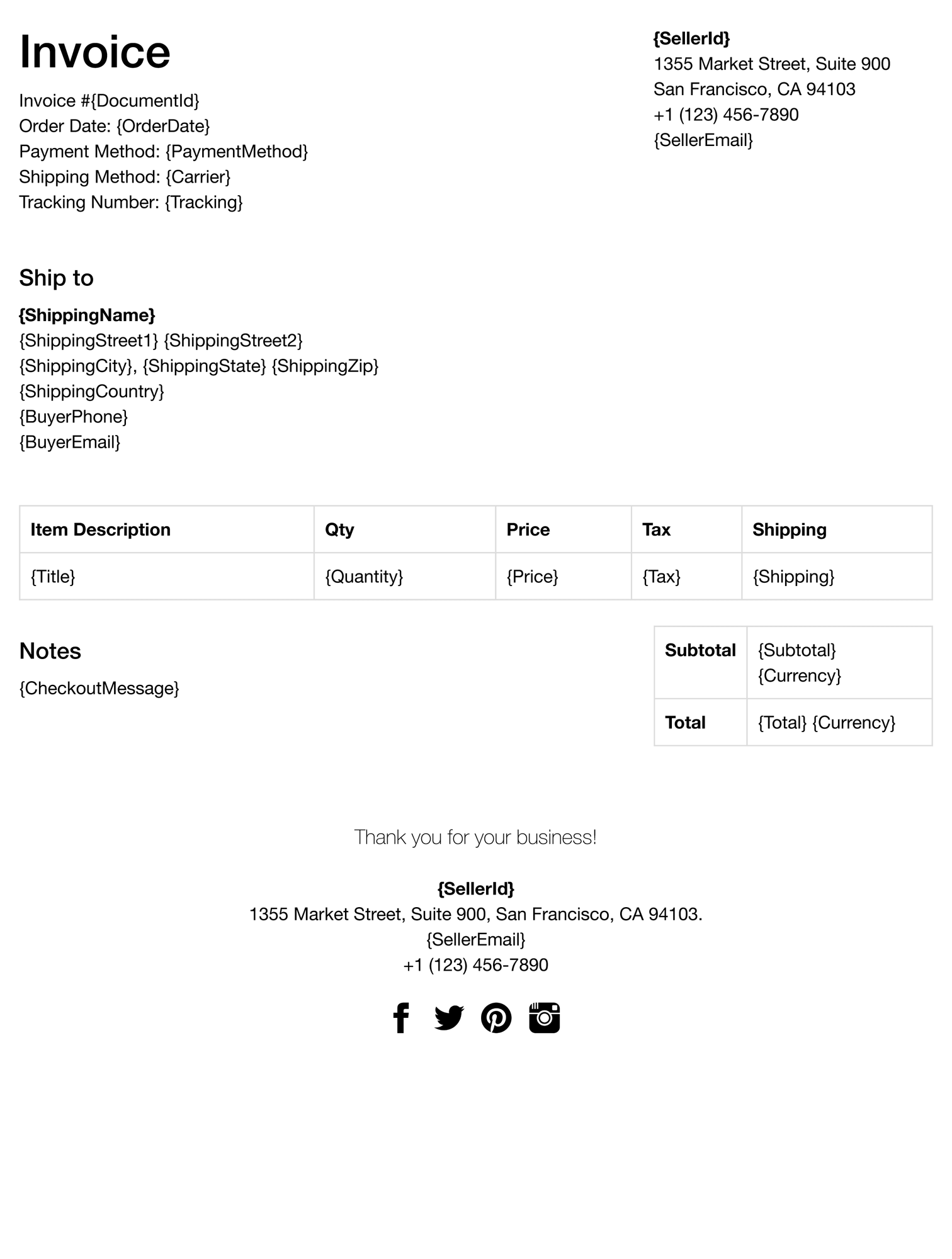 ebay invoice template