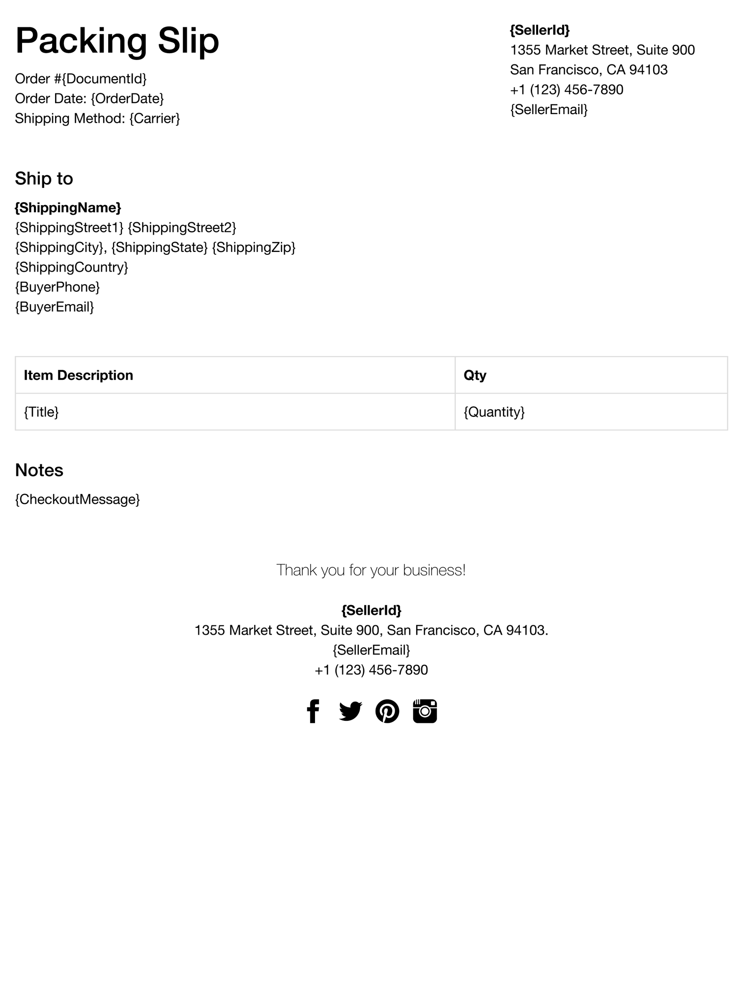 ebay packing slip template