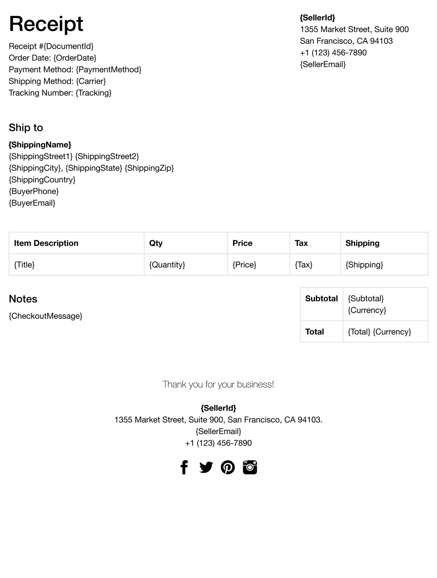 eBay receipt template